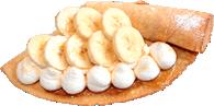 カラーカフェのクレープ 一例(はちみつバナナ生クリーム)