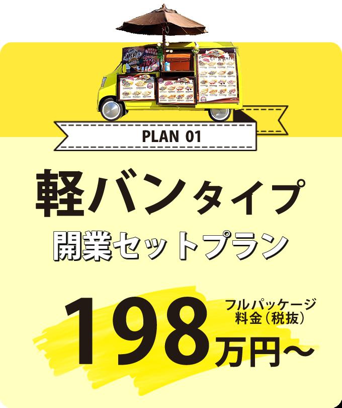 FC開業プラン1 軽バンタイプ開業セットプラン フルパッケージ料金198万円~